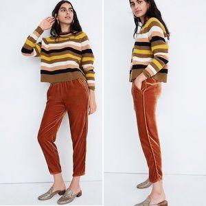 NEW Madewell Luxe- Velvet Gold Trouser Pants
